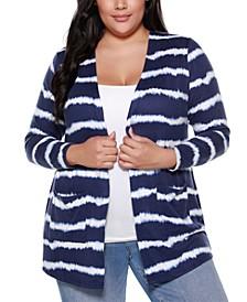 Belle By Plus Size Women's Printed Tie-Dye Stripe Cardigan with Pockets