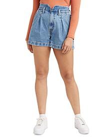 Cotton Denim Mom Shorts