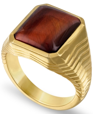 Tiger's Eye Statement Ring in 14k Gold-Plated Sterling Silver