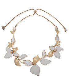 """Gold-Tone Pavé, Mother-of-Pearl & Leather Flower 26"""" Adjustable Necklace"""
