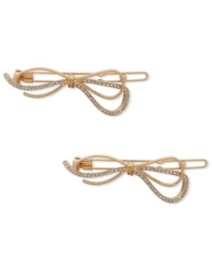 2-Pc. Gold-Tone Pave Bow Hair Barrette Set