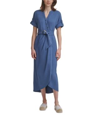 Karl Lagerfeld Belted Midi Knit Dress In Indigo