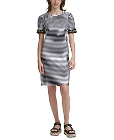 Striped Puff-Sleeve Sheath Dress