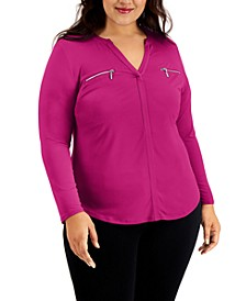 INC Plus Size Zip-Pocket Top, Created for Macy's