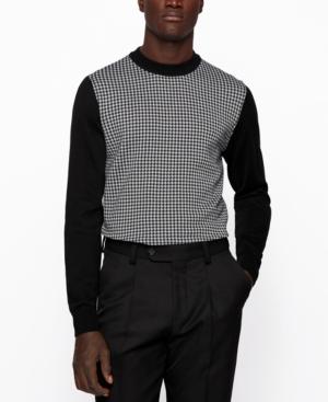 Hugo Boss Sweaters BOSS MEN'S VICHY CHECK CREWNECK SWEATER
