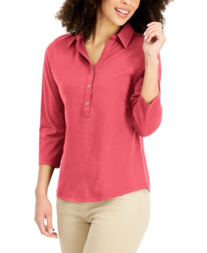 Charter Club COTTON POLO TOP, CREATED FOR MACY'S