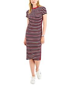 Rib Stipe Midi Dress