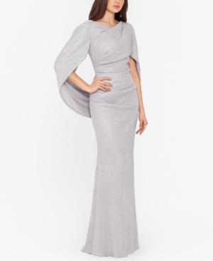 Metallic Cape-Sleeve Gown