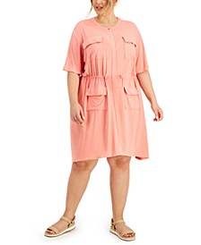 Plus Size Drawstring-Waist Dress, Created for Macy's