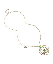 Spider Web Pendant Long Necklace
