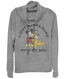 Juniors Disney Mickey Classic Mickey Dog Lover Cowl Neck T-shirt