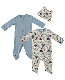 Baby Boys Dino Print 3-Piece Footed Coverall Set