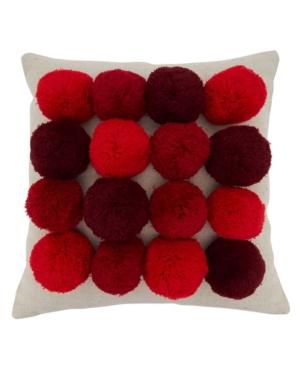 """Saro Lifestyle Pillows BIG POM POM DESIGN THROW PILLOW COVER, 18"""" X 18"""""""