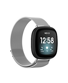 Men's and Women's Silver-Tone Metal Loop Band for Fitbit Sense Versa 3 42mm