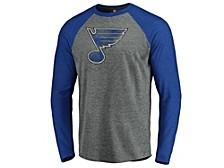 Men's St. Louis Blues Vintage Logo Tri-Blend Long-Sleeve Raglan Shirt