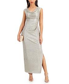 Petite Cowlneck Metallic Gown