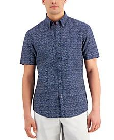 Men's Printed Linen Short Sleeve Shirt