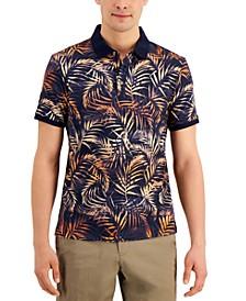 Men's Slim-Fit Tipped Palm Print Polo Shirt