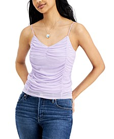 Juniors' Ruched Mesh Tank Top