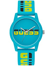 Unisex Black & Yellow Logo Turquoise Silicone Strap Watch 42mm