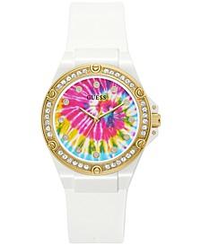 Women's White Silicone Strap Watch 38mm