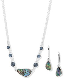 Crystal & Mother-of-Pearl Statement Necklace & Drop Earrings Set