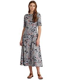 Floral Stretch Cotton Midi Dress