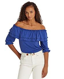 Floral Linen Jersey Off-the-Shoulder Top