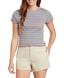 Juniors' Striped Baby T-Shirt