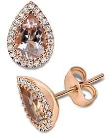 Morganite (1-1/10 ct. t.w.) & Diamond (1/8 ct. t.w.) Teardrop Halo Stud Earrings in 14k Rose Gold