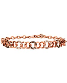 Chocolate Diamond® (1/4 ct. t.w.) & Nude Diamond™ (1/5 ct. t.w.) Link Bracelet in 14k Rose Gold