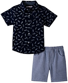 Little Boys Short Sleeve Printed Poplin Shirt and Shorts, Set of 2