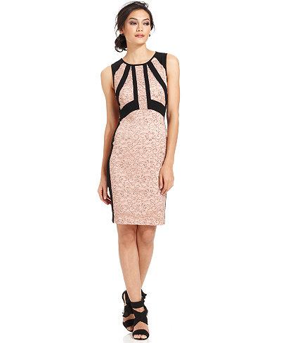 Ivanka Trump Metallic Lace Colorblocked Sheath Dress - Dresses ...