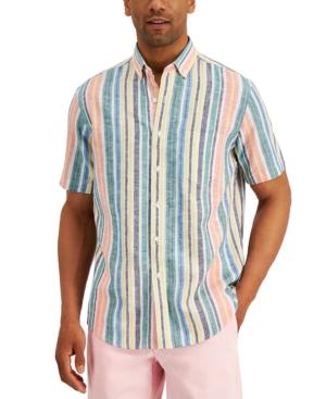 Men's Stripe Linen-Blend Short Sleeve Shirt