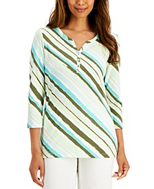 Jungle Mix Henley Top, Created for Macy's