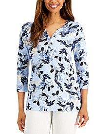 Jingle Mix Printed Henley Top, Created for Macy's