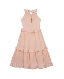 Big Girls Gauze Maxi Dress with Necklace Set, 2 Piece