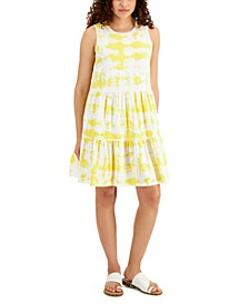 Petite Star-Print Tiered Dress, Created for Macy's