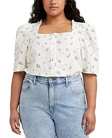 Plus Size Cotton Joella Printed Square-Neck Top
