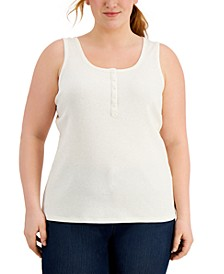 Plus Size Henley Tank, Created for Macy's