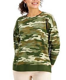 Petite Camouflage-Print Sweatshirt, Created for Macy's