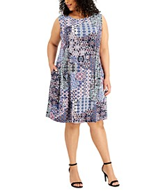 Plus Size Printed A-Line Dress