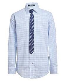 Big Boys Stretch Shadow Grid Shirt and Tie, 2-piece Set