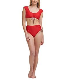 Drawstring-Front Bikini Top & High-Waist Bottoms