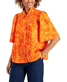Petite Oversized Button-Down Top, Created for Macy's