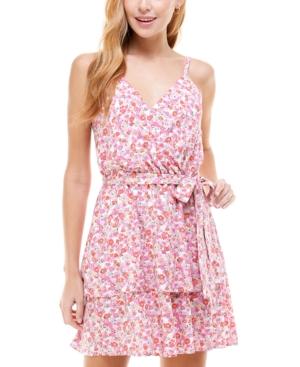 Juniors' Floral-Print Sleeveless Fit & Flare Dress