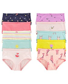 Little and Big Girls Stretch Cotton Undies Set, Pack of 10
