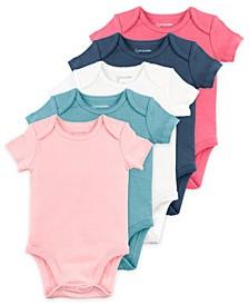 Baby Girl Short Sleeve Bodysuits, 5 Pack