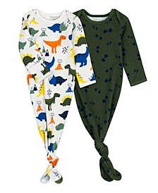 2-Pack Organic Cotton Baby Gown in Dinosaur Print