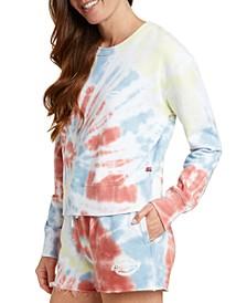 Juniors' Tie-Dyed Cropped Sweatshirt